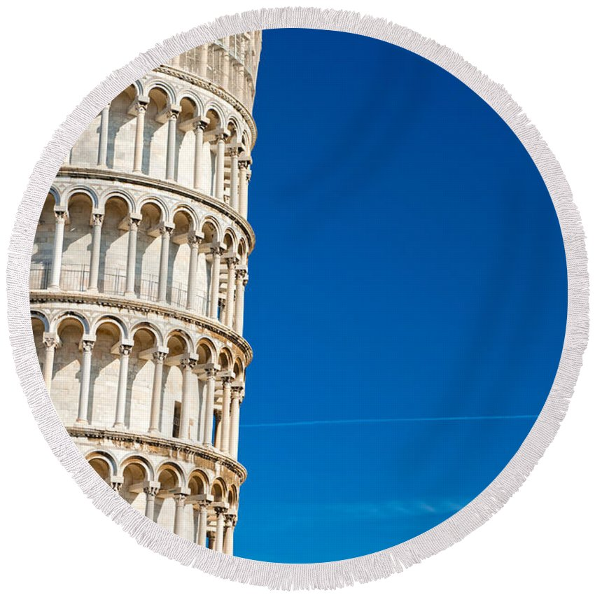 Arch Round Beach Towel featuring the photograph Pisa Leaning Tower by Luciano Mortula