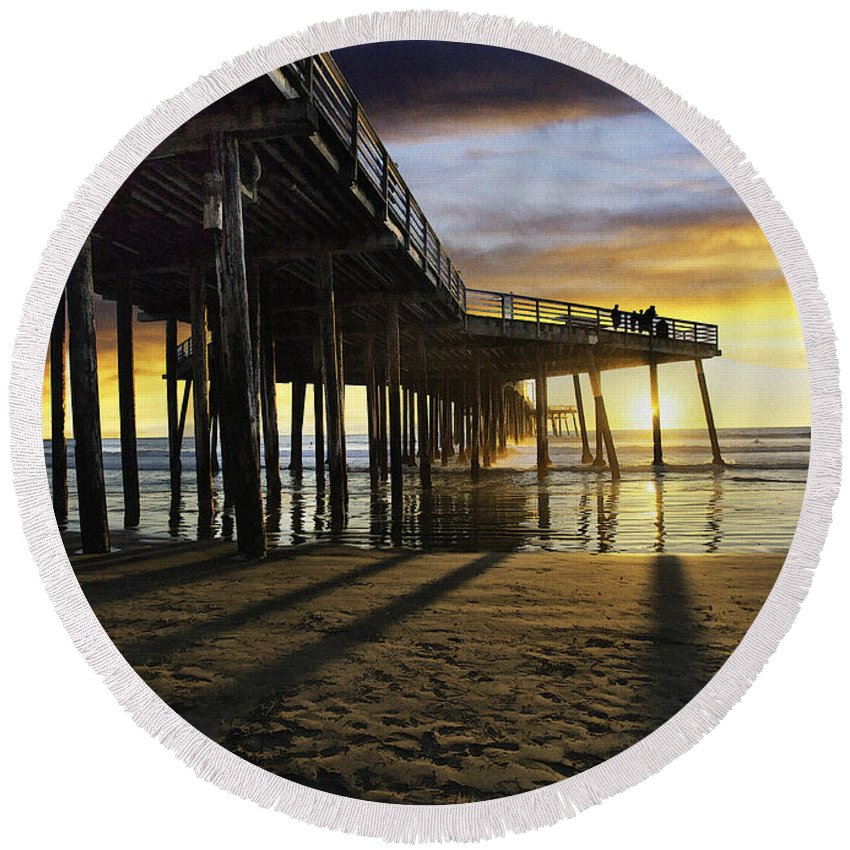 Pismo Beach Pier Round Beach Towel featuring the digital art Pismo Beach Pier IIi by Sharon Foster