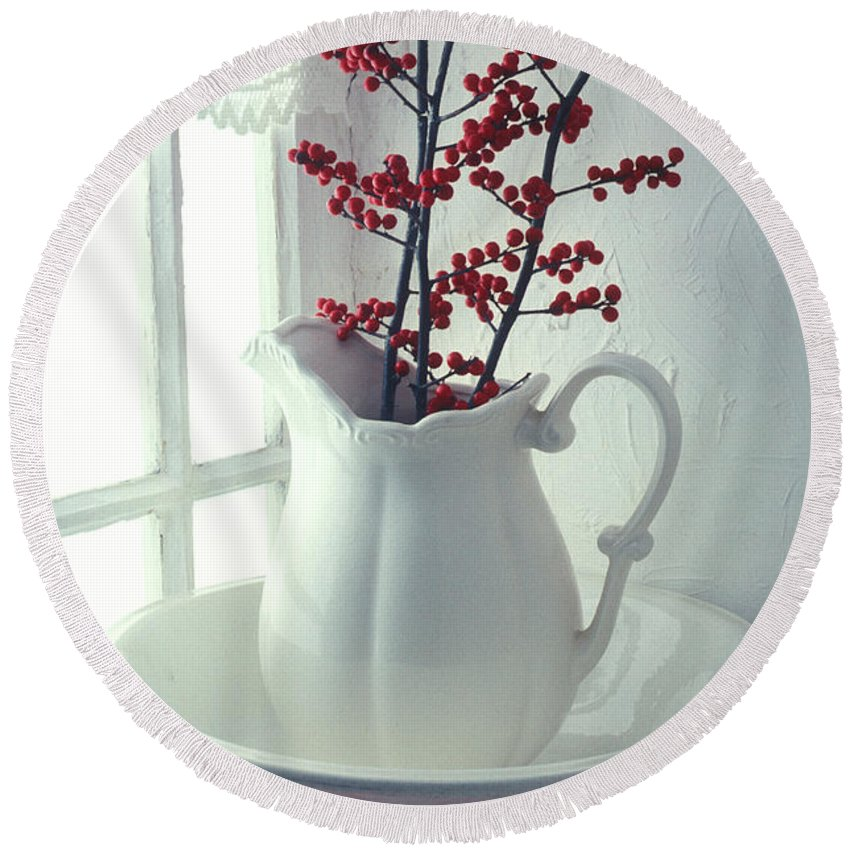 Christmas Round Beach Towel featuring the photograph Pitcher With Red Berries by Garry Gay