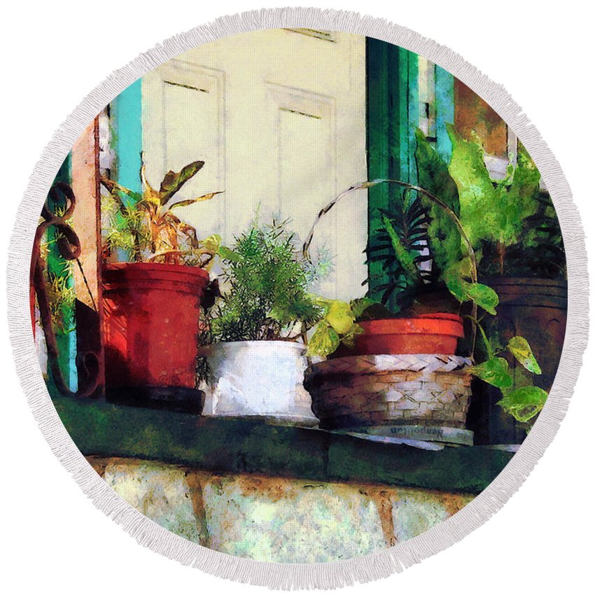 Plant Round Beach Towel featuring the photograph Plants On Porch by Susan Savad