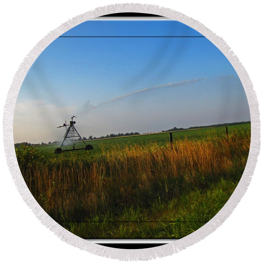 Round Beach Towel featuring the photograph Playing In The Sprinkler by Debbie Portwood