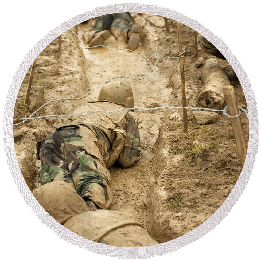 Training Round Beach Towel featuring the photograph Plebes Navigate The Low Crawl Obstacle by Stocktrek Images