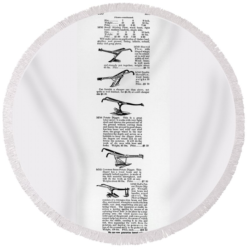 1890 Round Beach Towel featuring the photograph Plow Advertisement, C1890 by Granger