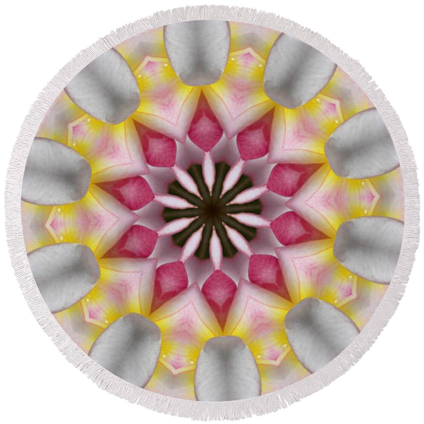 Kaleidoscope Round Beach Towel featuring the photograph Plumeria 3 by Mark Gilman