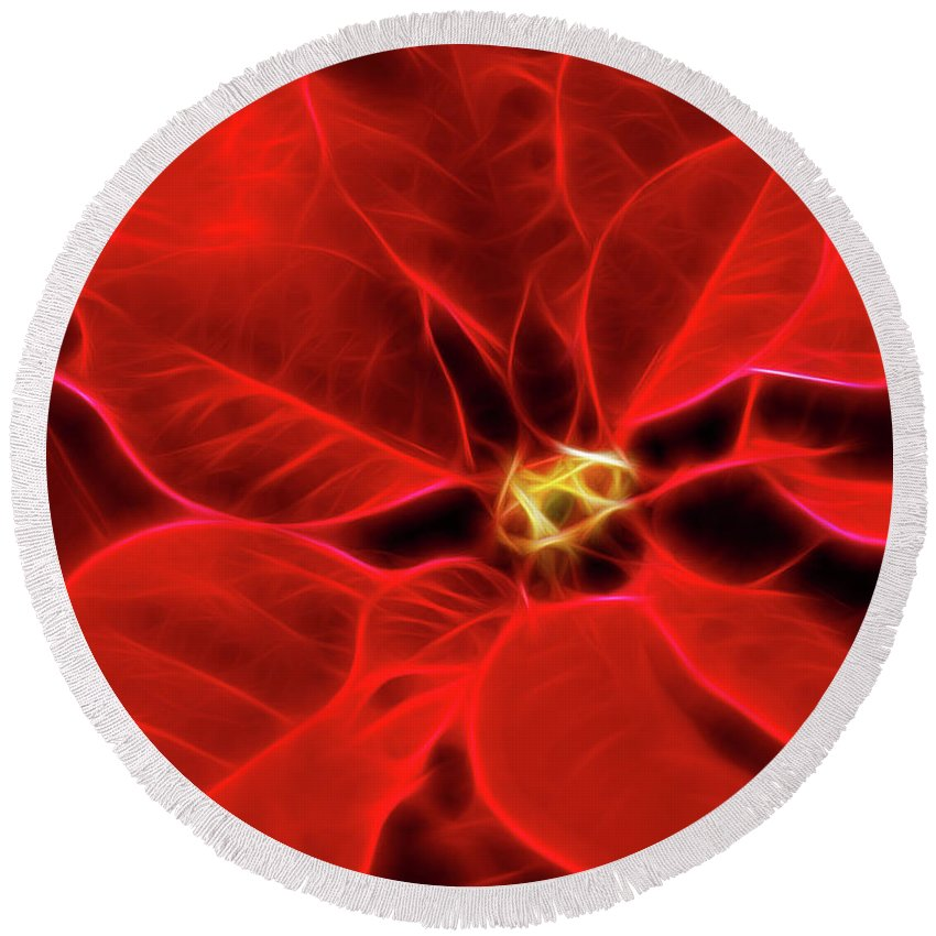 Poinsettia Round Beach Towel featuring the photograph Poinsettia Red Christmas Flower Abstract Artwork by Oleksiy Maksymenko