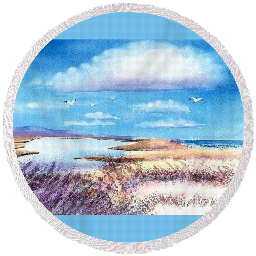 Pond Round Beach Towel featuring the painting Pond At South Cape Beach by Joseph Gallant