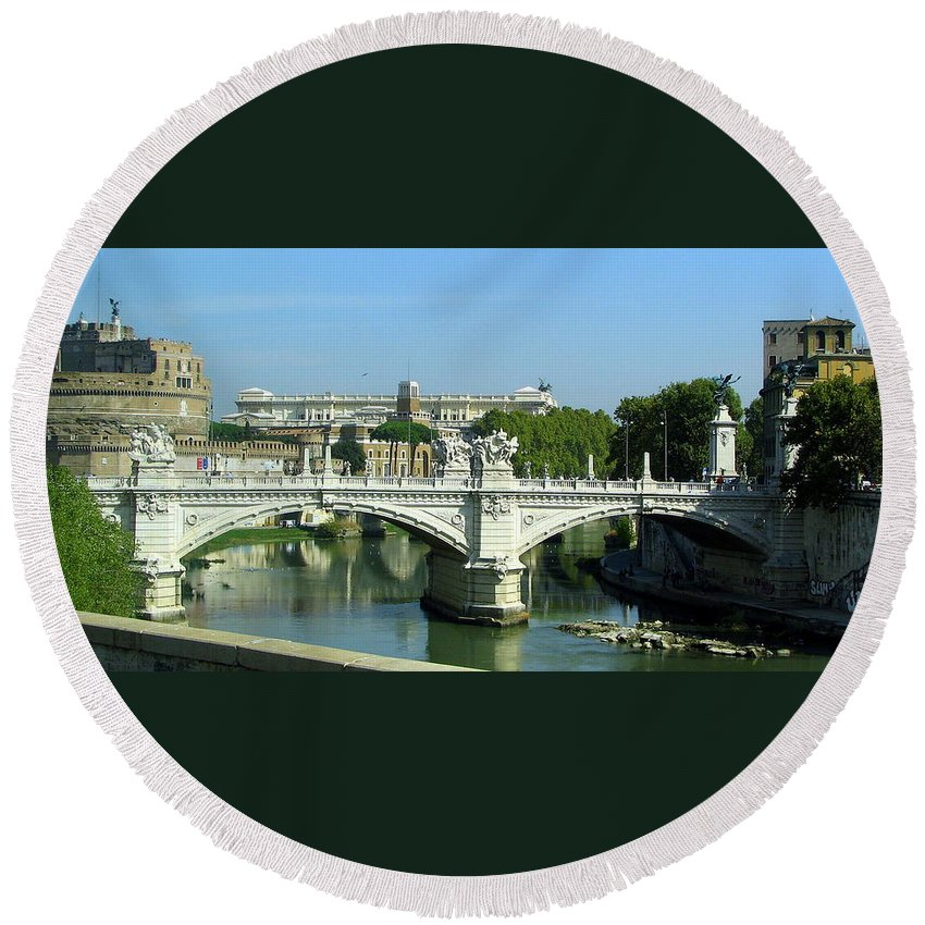 Ponte Sant'angelo Round Beach Towel featuring the photograph Ponte Sant'angelo In Rome by Carla Parris