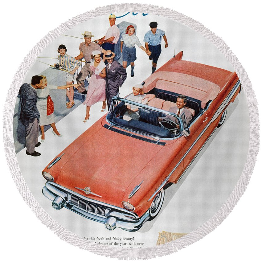 1957 Round Beach Towel featuring the photograph Pontiac Advertisement 1957 by Granger