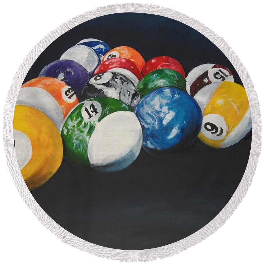 Pool Balls Round Beach Towel featuring the painting Pool Balls by Travis Day