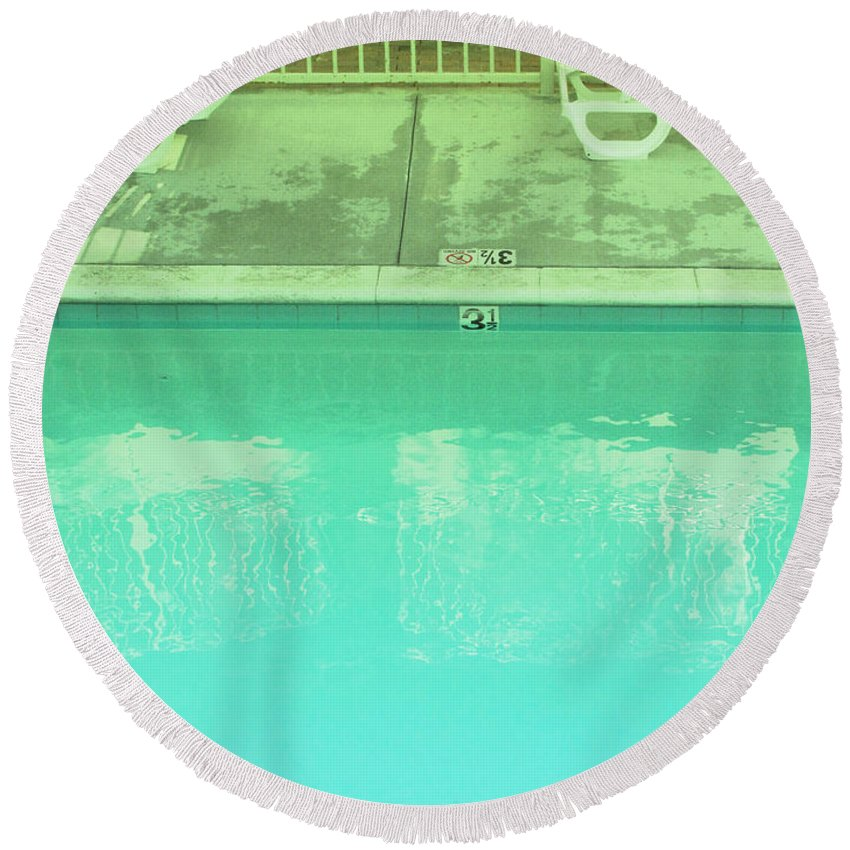 Pool Round Beach Towel featuring the photograph Poolside Seating by Kathleen Grace
