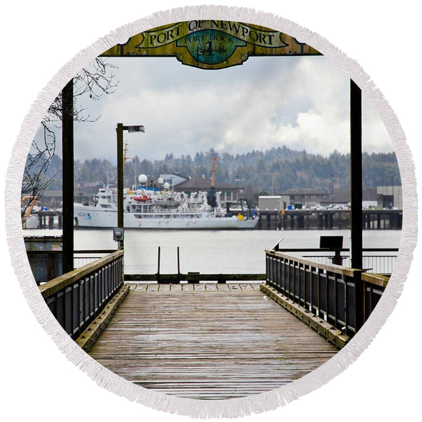 Port Of Newport Round Beach Towel featuring the photograph Port Of Newport by Athena Mckinzie