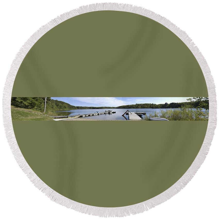 Americas Round Beach Towel featuring the photograph Portage Lake Panorama by Roderick Bley