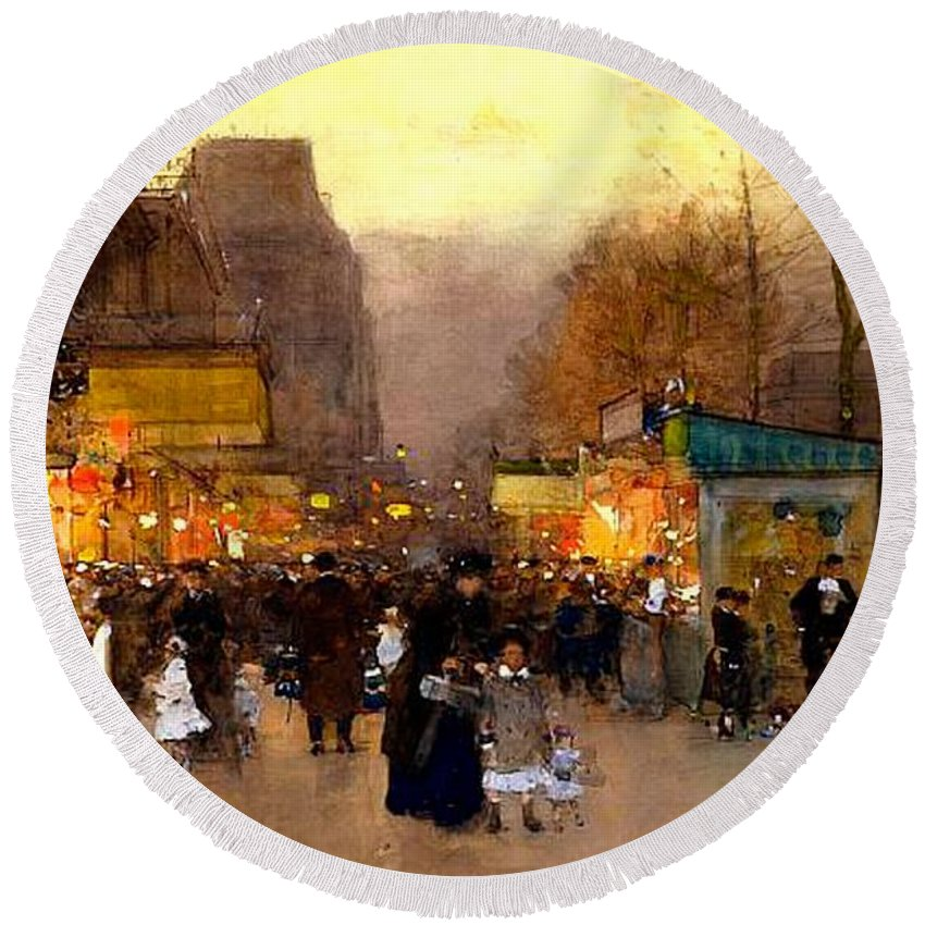 The Top Of The Monumental Arch Itself Round Beach Towel featuring the painting Porte St Martin At Christmas Time In Paris by Luigi Loir