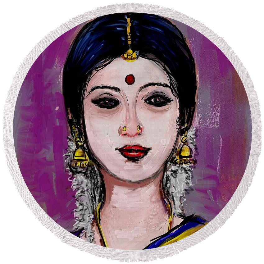 Portrait Of An Indian Woman Round Beach Towel featuring the painting Portrait Of An Indian Woman by Usha Shantharam