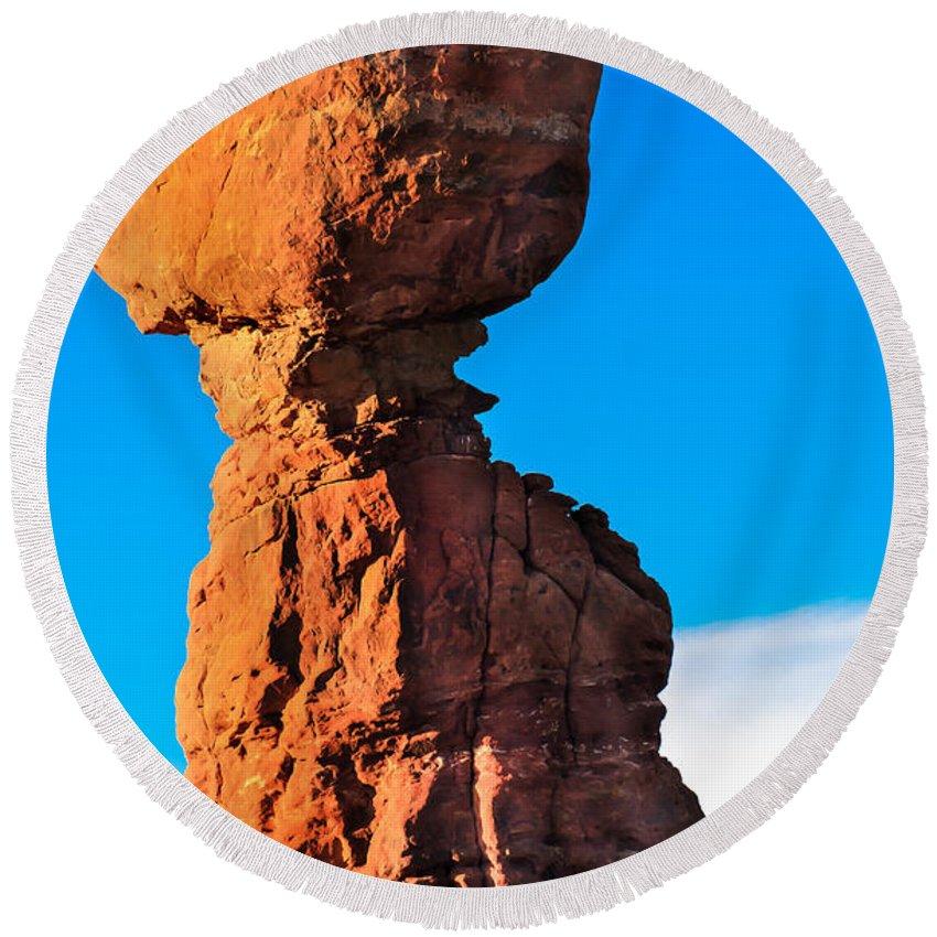 Balance Rock Round Beach Towel featuring the photograph Portrait Of Balance Rock by Robert Bales