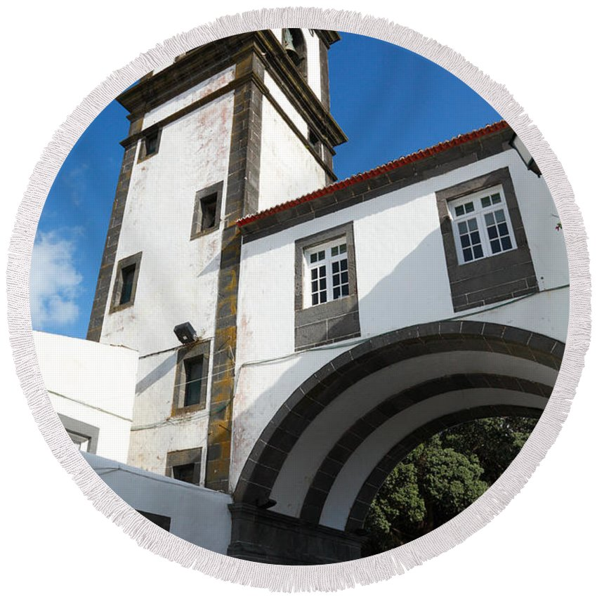 Azores Round Beach Towel featuring the photograph Portuguese Architecture by Gaspar Avila