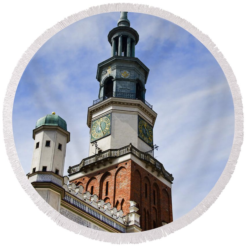 Posnan Round Beach Towel featuring the photograph Posnan Poland Clock Tower by Jon Berghoff