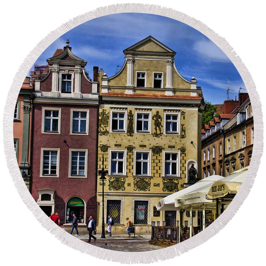 Posnan Round Beach Towel featuring the photograph Posnan Shops - Poland by Jon Berghoff