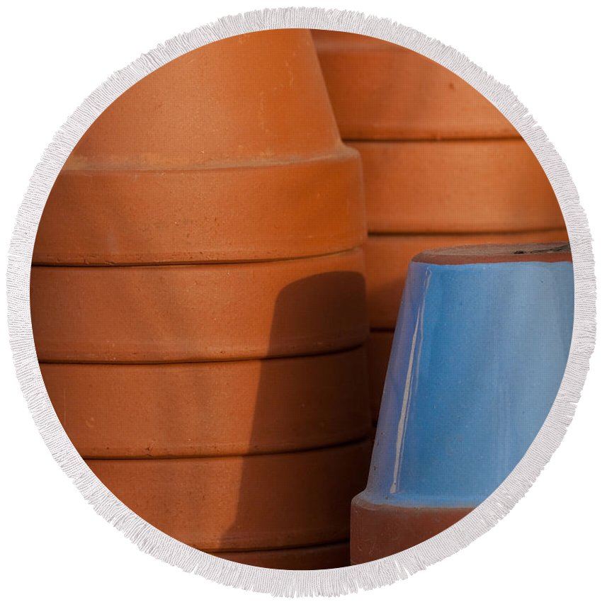 Abstract Round Beach Towel featuring the photograph Pots In Sun by Sean Wray