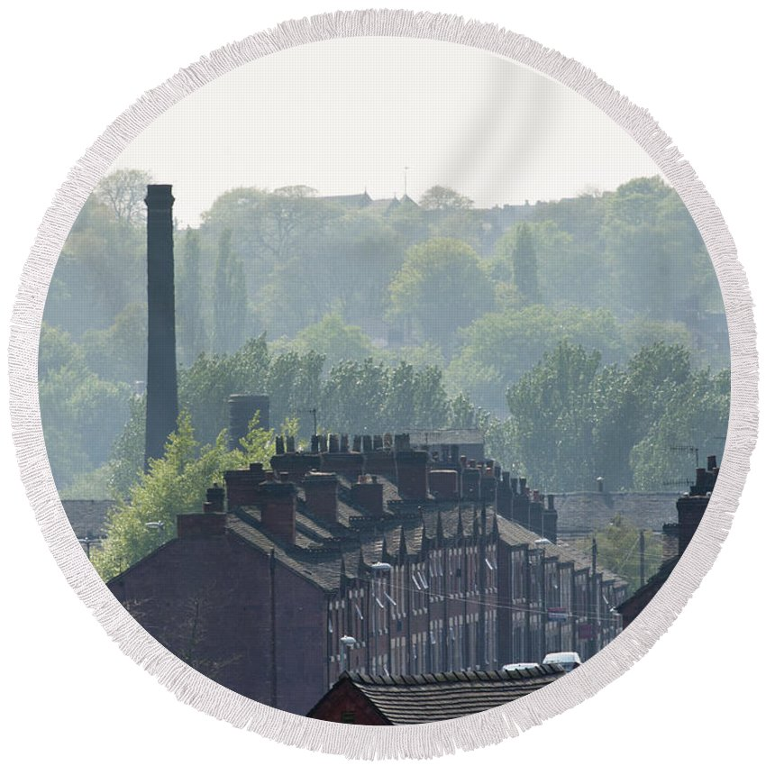 2011 Round Beach Towel featuring the photograph Potteries Urban Landscape by Andrew Michael