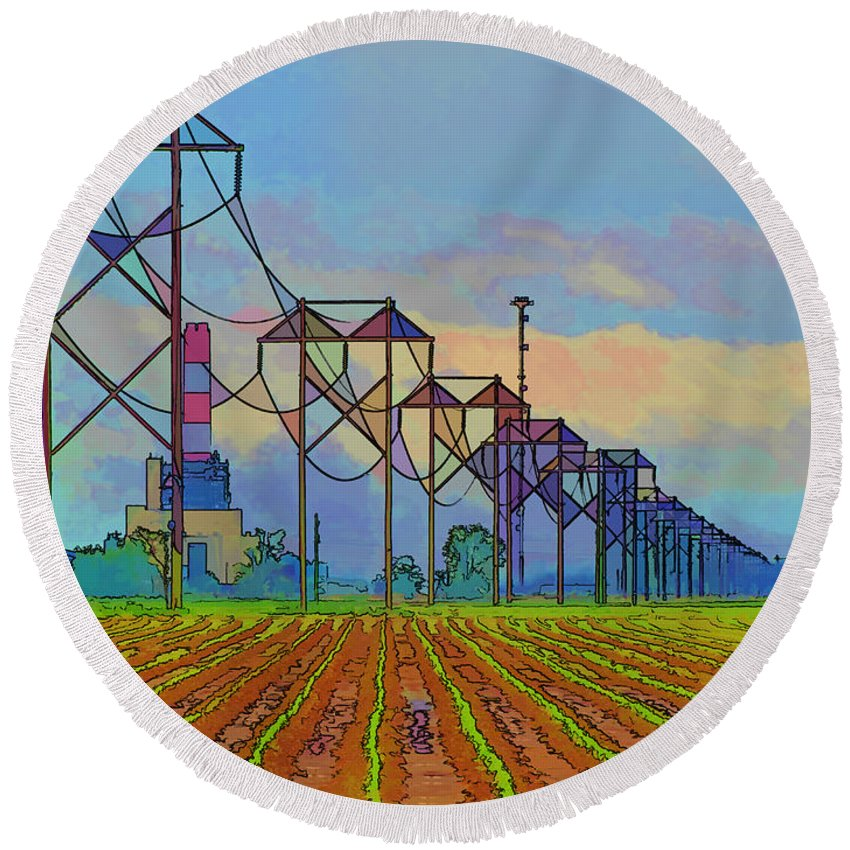 Arcitecture Round Beach Towel featuring the photograph Power Plant Photo Art by Debbie Portwood