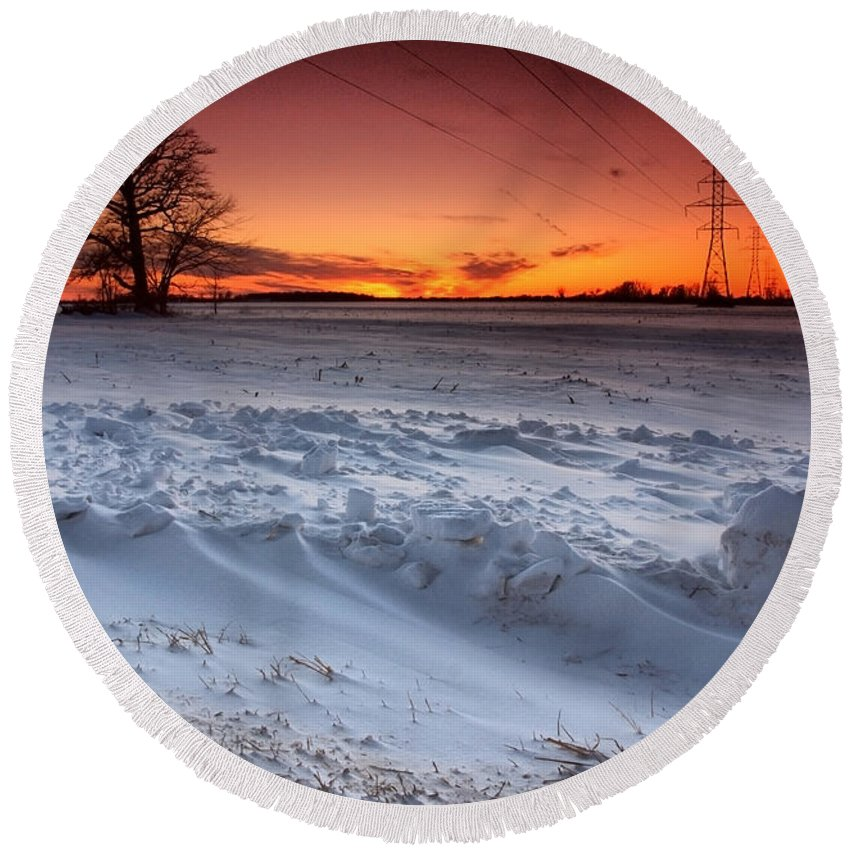 Winter Round Beach Towel featuring the photograph Powerlines In Winter by Cale Best