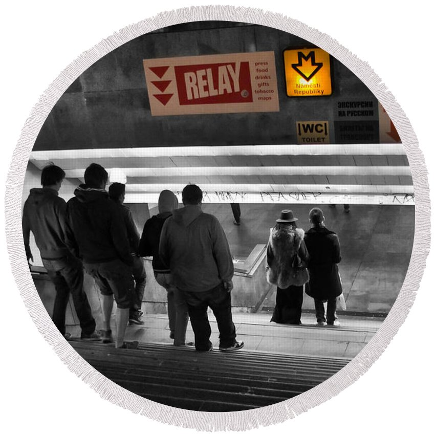 Abstract Round Beach Towel featuring the photograph Prague Underground Station Stairs by Stelios Kleanthous