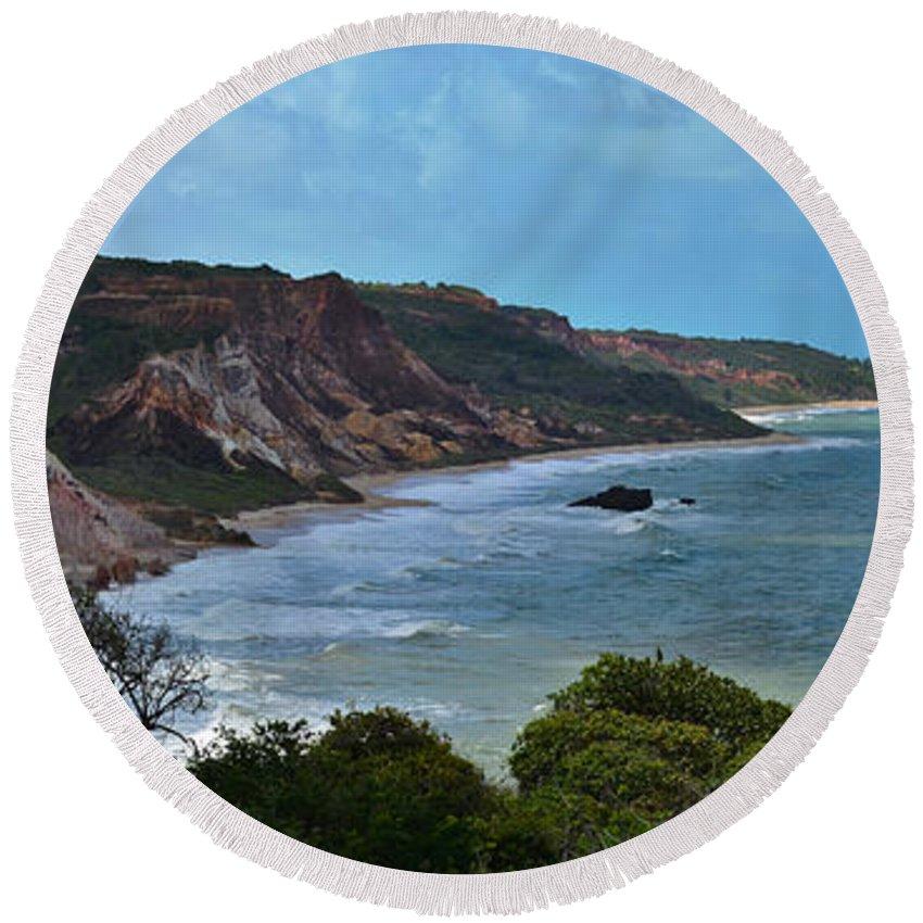 Nature Round Beach Towel featuring the photograph Praia De Tambaba - Paraiba by Carlos Alkmin