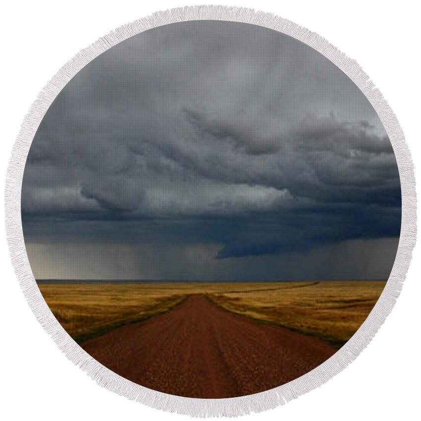 Prairies Round Beach Towel featuring the photograph Prairie Storm In Canada by Vivian Christopher