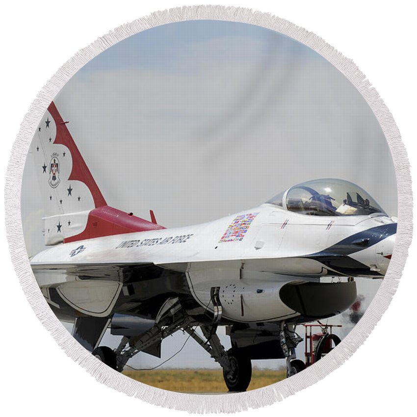 Thunderbirds Round Beach Towel featuring the photograph Preflight Checks Are Performed by Stocktrek Images