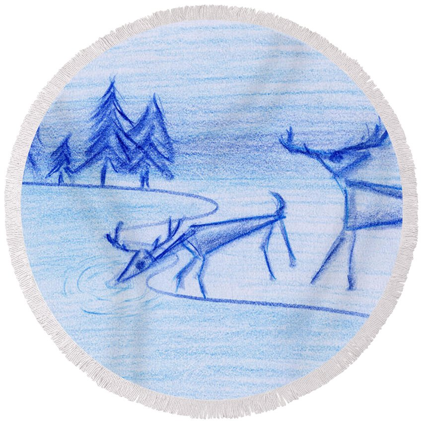 Animals Round Beach Towel featuring the painting Prehistoric Scenic by John Bowers