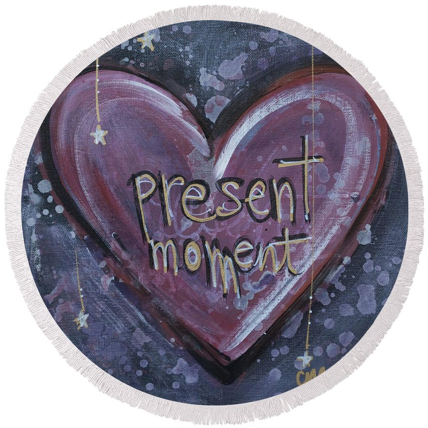 Heart Round Beach Towel featuring the painting Present Moment Heart by Laurie Maves ART