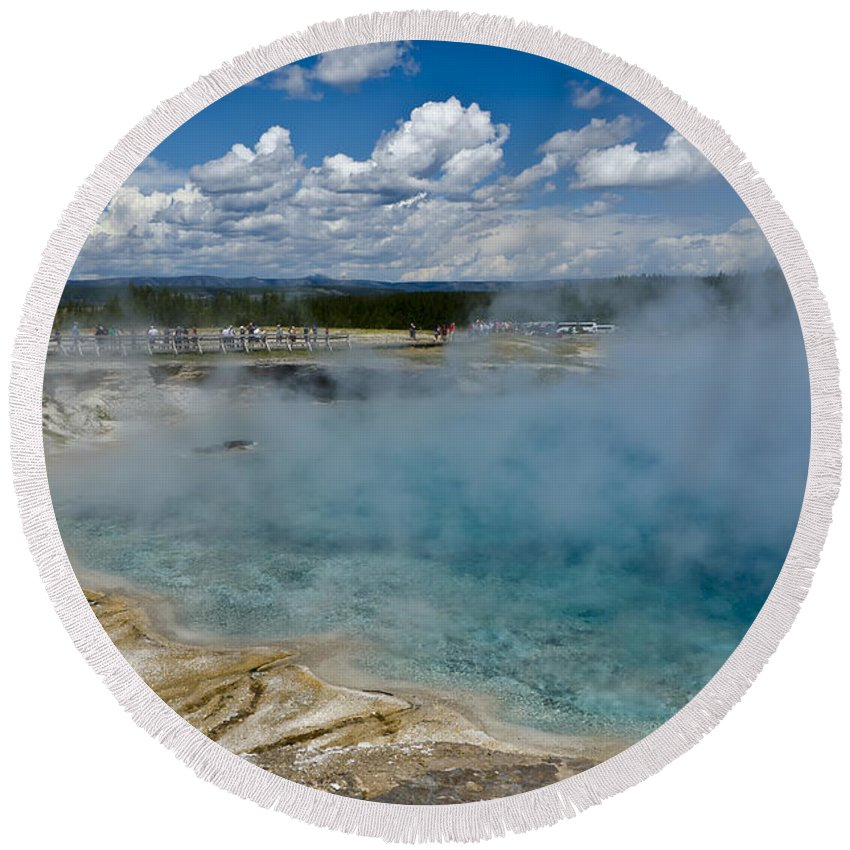 Yellowstone National Park Round Beach Towel featuring the photograph Prismatic Spring Yellowstone by Jon Berghoff