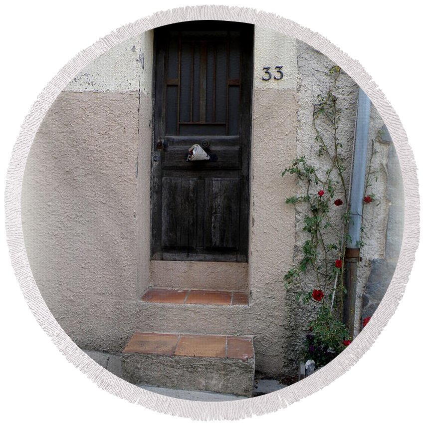 Door Round Beach Towel featuring the photograph Provence Door Number 33 by Lainie Wrightson
