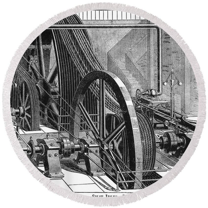 19th Century Round Beach Towel featuring the photograph Providence Tramway Machine by Granger