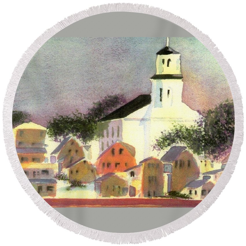 Provincetown Massachusetts Round Beach Towel featuring the painting Provincetown Dusk by Joseph Gallant