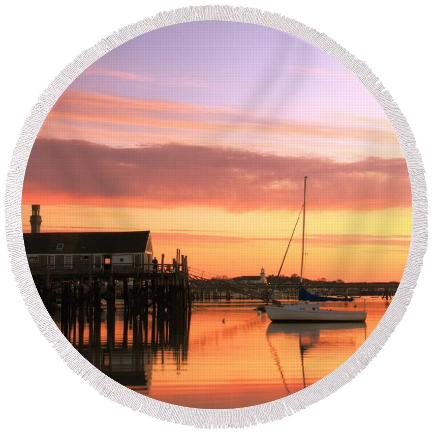 Dawn Round Beach Towel featuring the photograph Provincetown Harbor Before Sunrise by Roupen Baker