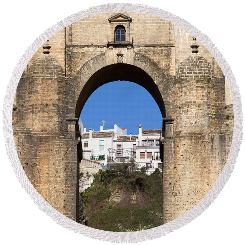 New Round Beach Towel featuring the photograph Puente Nuevo In Spain by Artur Bogacki