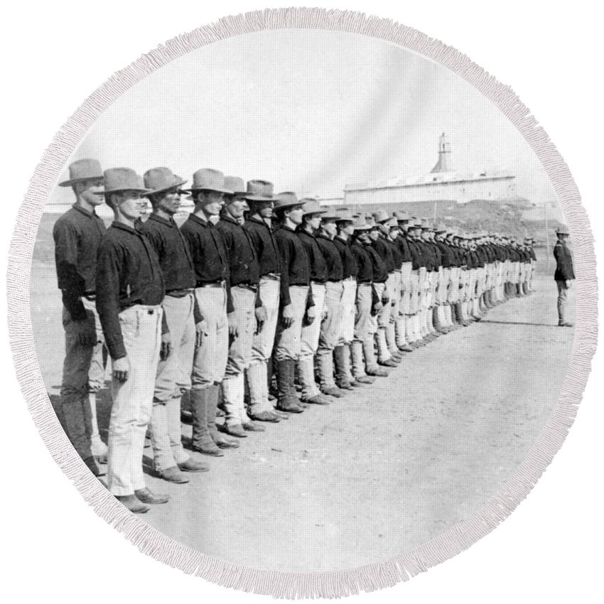 colonial Army Round Beach Towel featuring the photograph Puerto Ricans Serving In The American Colonial Army - C 1899 by International Images