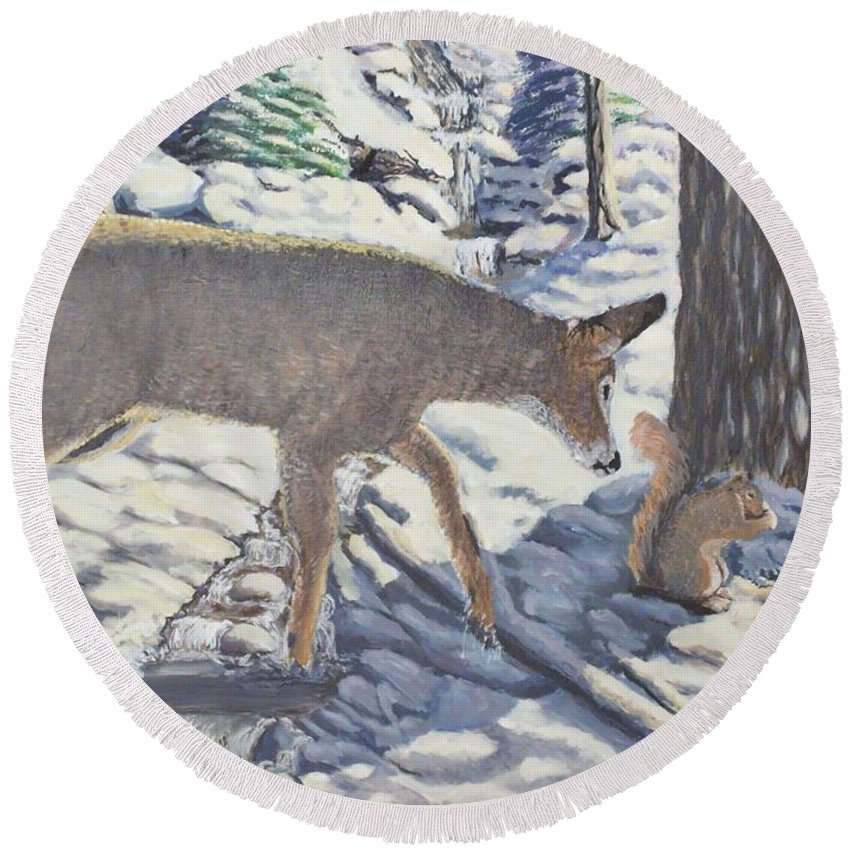 Winter Round Beach Towel featuring the painting Purple In The Shadow by Carey MacDonald
