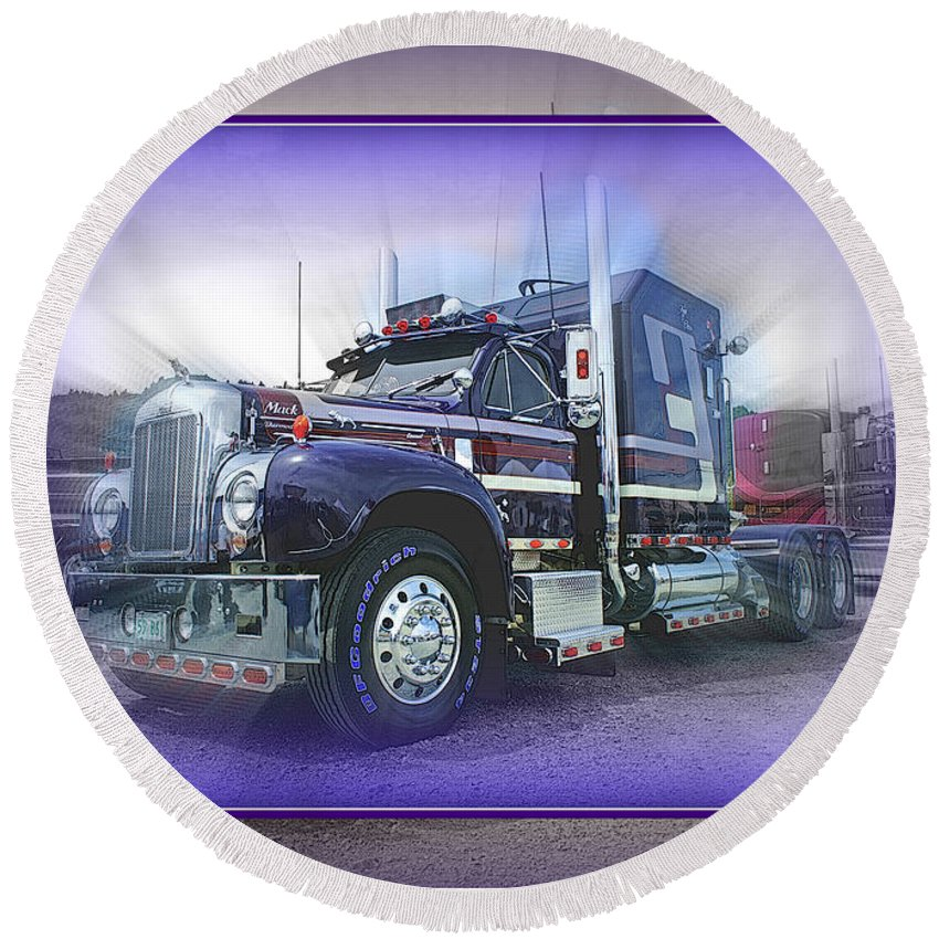 Trucks Round Beach Towel featuring the photograph Purple Mack Abstract by Randy Harris