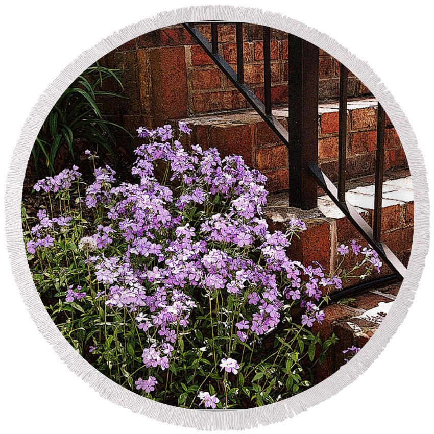 Purple Round Beach Towel featuring the photograph Purple Phlox by Mel Hensley