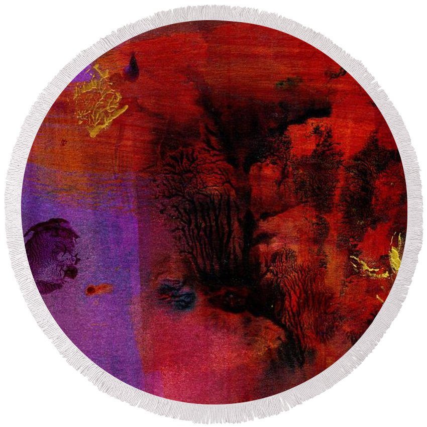 Acrylic Round Beach Towel featuring the painting Purple Rain I by Angela L Walker