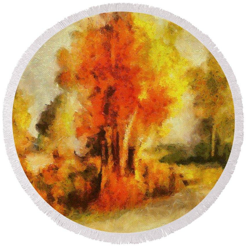 Tree Round Beach Towel featuring the painting Purple Smoke Tree by Dragica Micki Fortuna