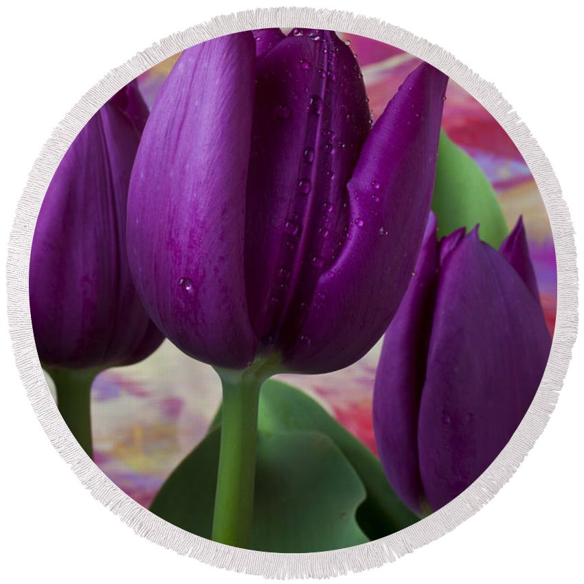 Purple Tulip Round Beach Towel featuring the photograph Purple Tulips by Garry Gay
