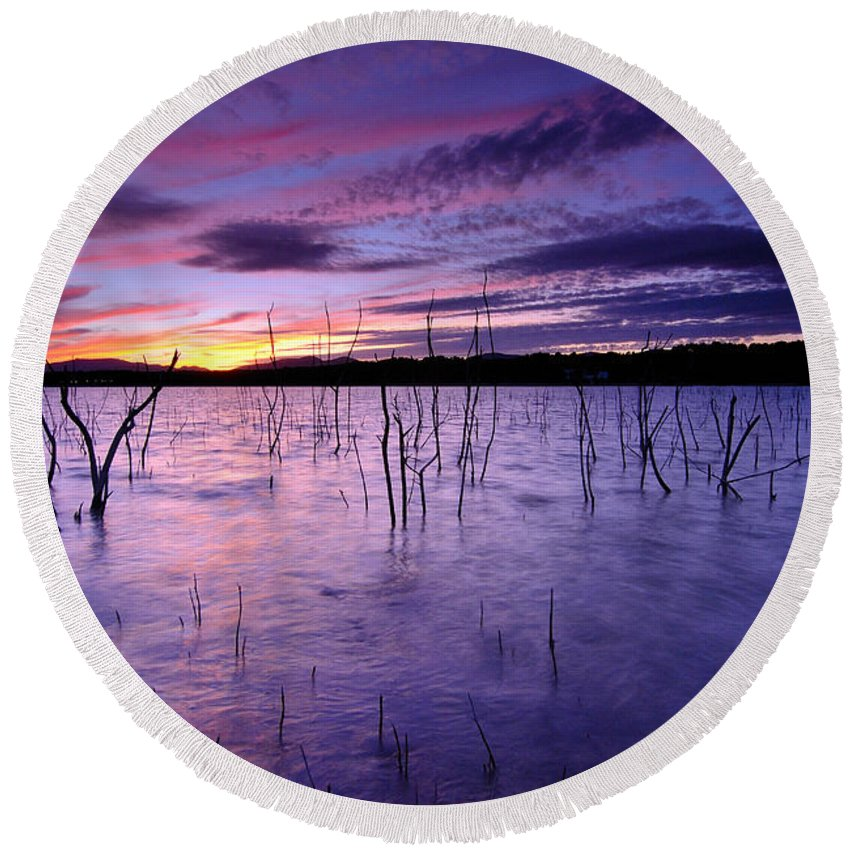 Sunrise Round Beach Towel featuring the photograph Purple Waters by Guido Montanes Castillo