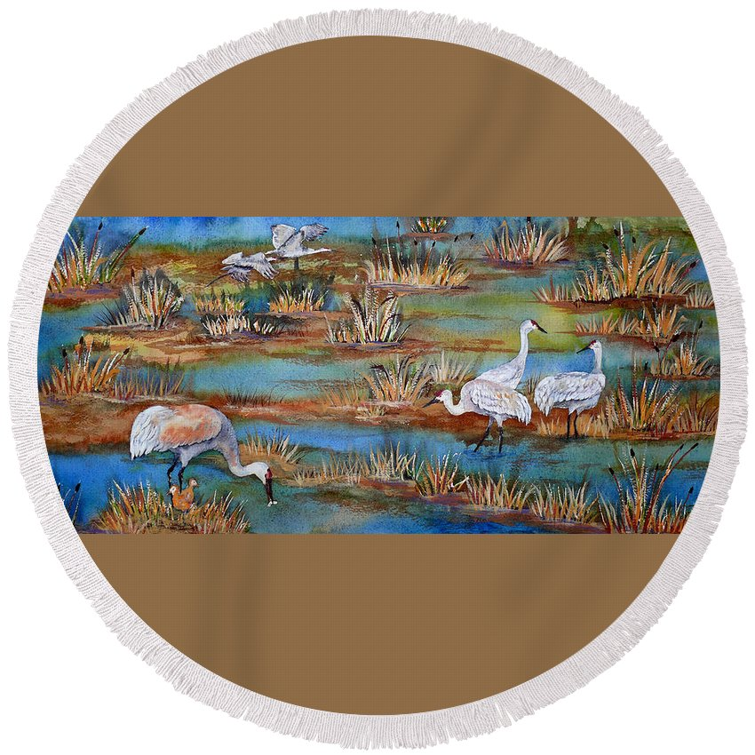Sandhill Crane Round Beach Towel featuring the painting Quality Time At The Marsh by Dee Carpenter