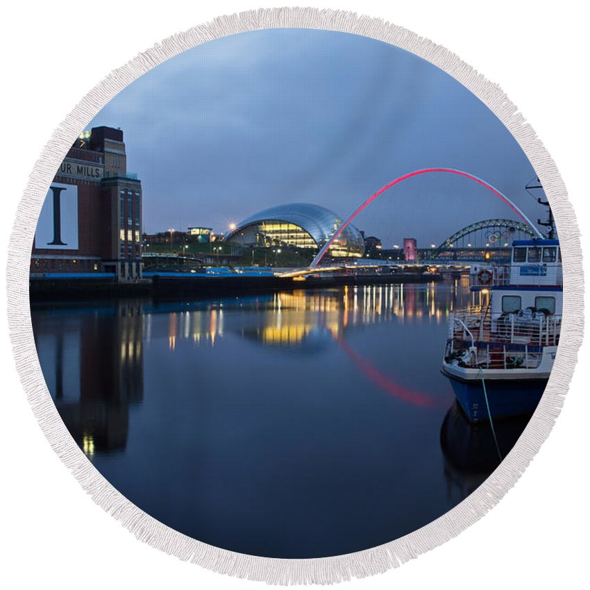 River Tyne Round Beach Towel featuring the photograph Quayside Landmarks by David Pringle
