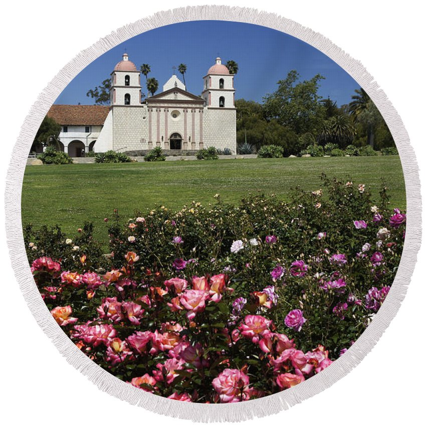 California Round Beach Towel featuring the photograph Queen Of The Missions by Michele Burgess