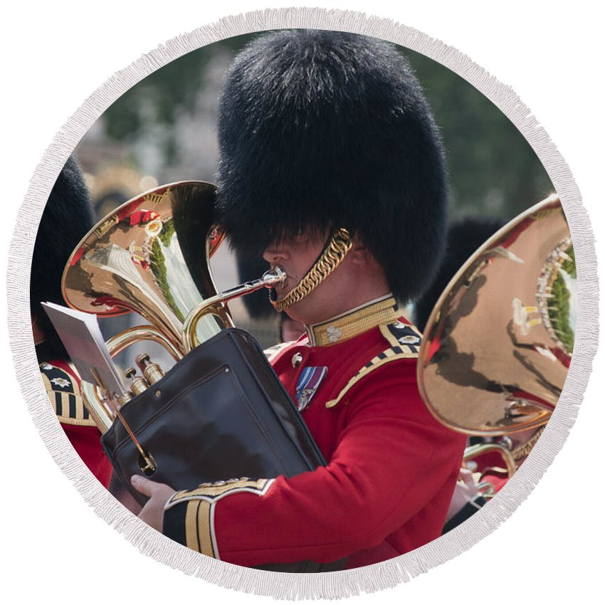 Britain Round Beach Towel featuring the photograph Queens Guards Band by Andrew Michael